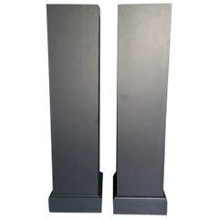 Pair of Wooden Columns in Grey