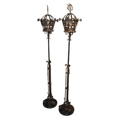 Pair of Wrought Iron 1920s Torchiers Enamel Floral Details