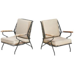 Pair of Wrought Iron and Wood Lounge Chairs by Salterini