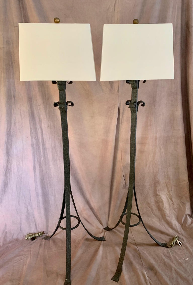 Pair Wrought Iron Floor Lamps In Good Condition For Sale In Los Angeles, CA