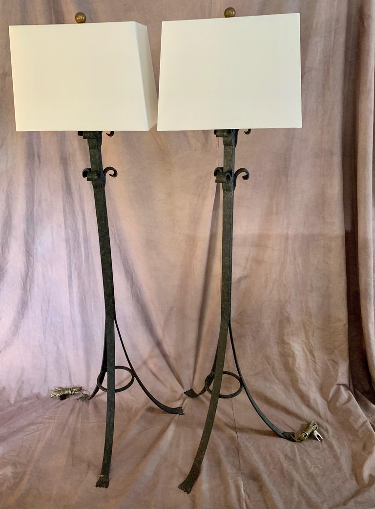 20th Century Pair Wrought Iron Floor Lamps For Sale