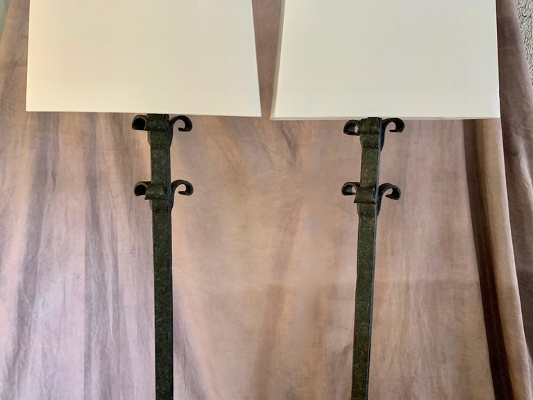 Pair Wrought Iron Floor Lamps For Sale 5