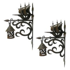 2 Wrought Iron Sconces Attributed to Poillerat Marine Galleon, circa 1930