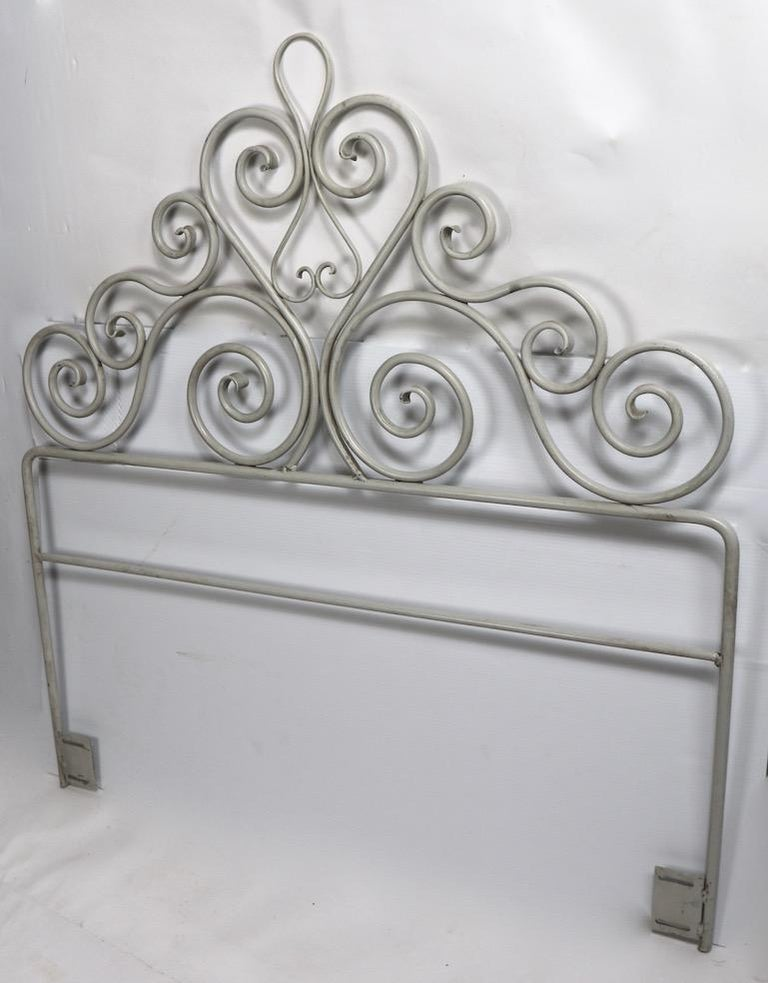 Hollywood Regency Pair Wrought Iron Scrollwork Headboards For Sale