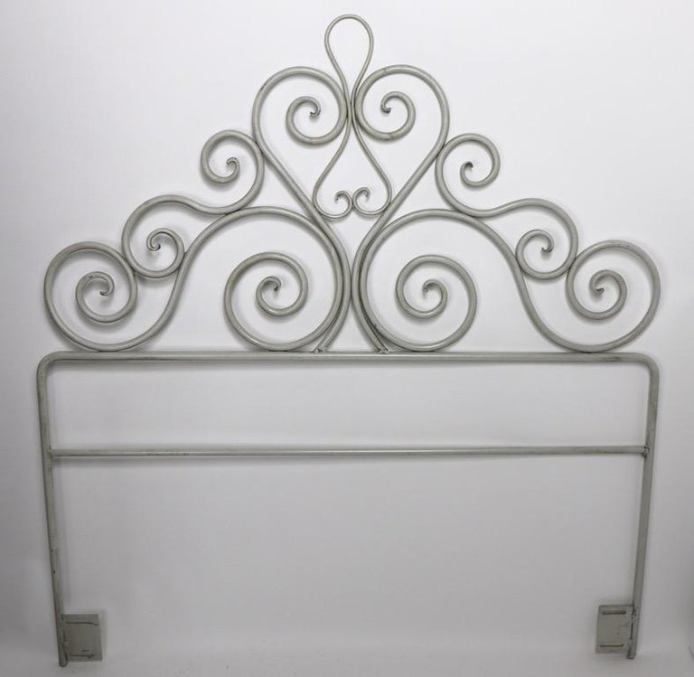 Pair Wrought Iron Scrollwork Headboards In Good Condition For Sale In New York, NY