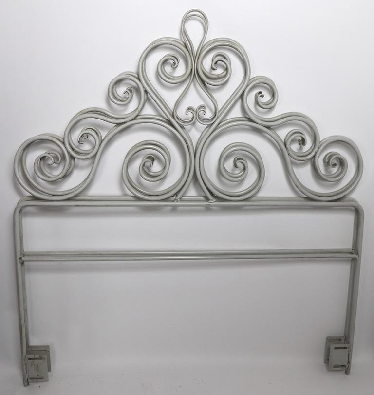Pair Wrought Iron Scrollwork Headboards For Sale 1
