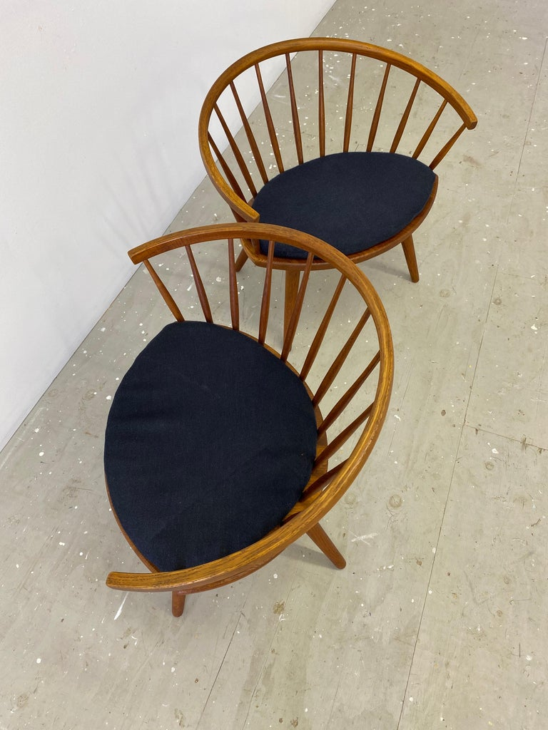 "Oak Pair of Yngve Ekstrom ""Arka"" Lounge Chairs For Sale"