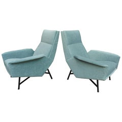 Paire of 1950 French  Armchairs by  Claude Vassal Reupholstered