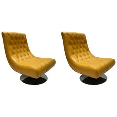 Pair of Armchairs in Yellow Hermès Leather