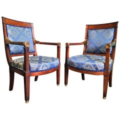 Pair of Empire Restauration Period Armchairs Bergeres, France, circa 1815-1830