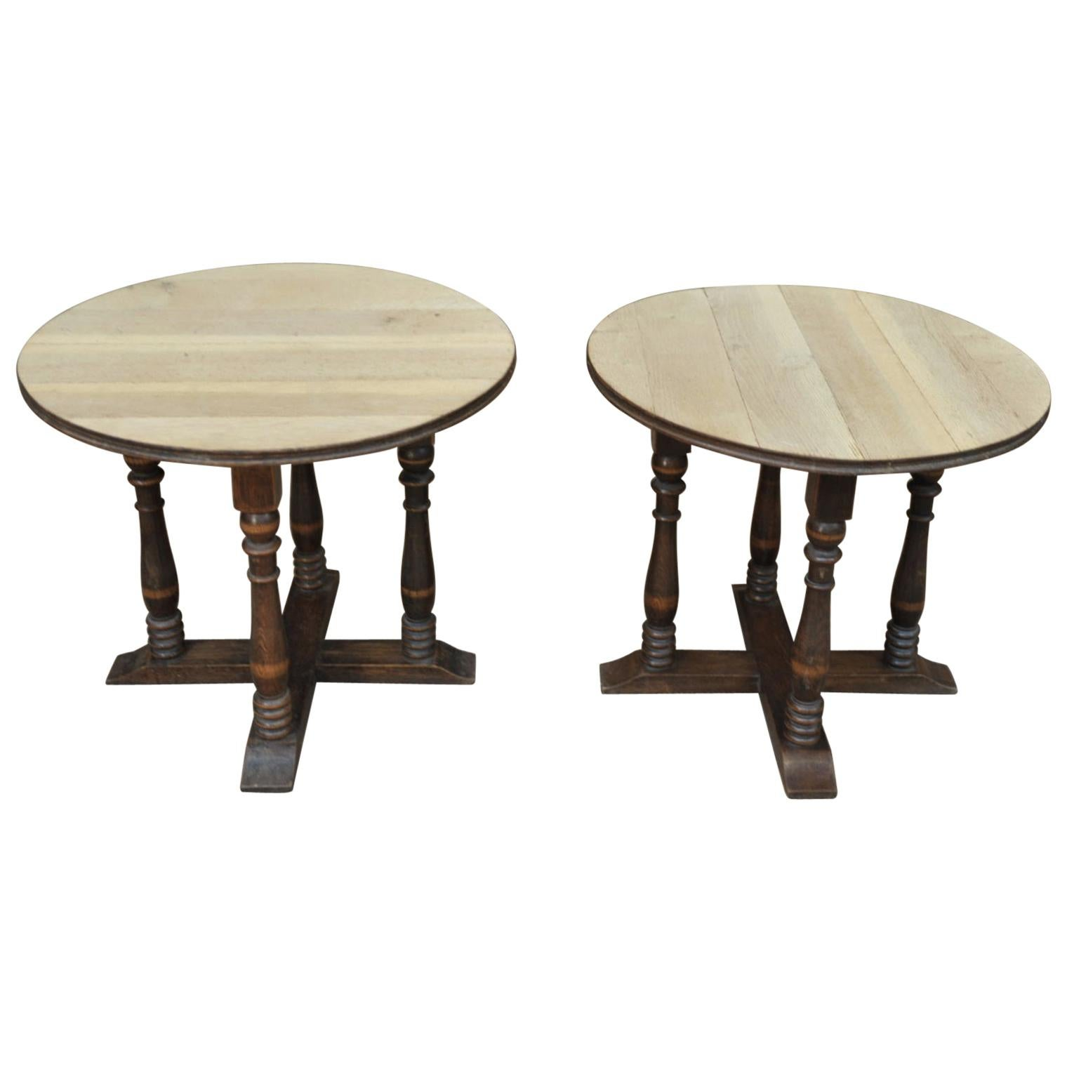 Paire of Oak Side Tables or Coffee Tables Charles Dudouyt Style, Circa 1950