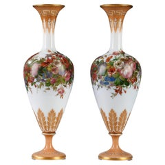 Pair of Opaline Vases by Baccarat, France, Circa 1870