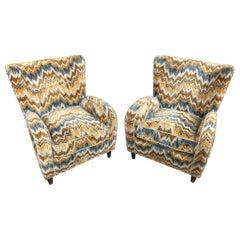 Paire of Paulo Buffa Armchairs Original Missoni Fabric, Italy, 1950s