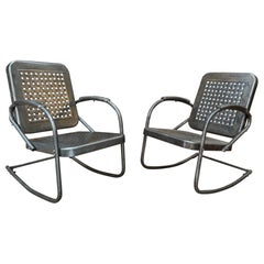 Pair of Perforated Metal Armchairs, circa 1950