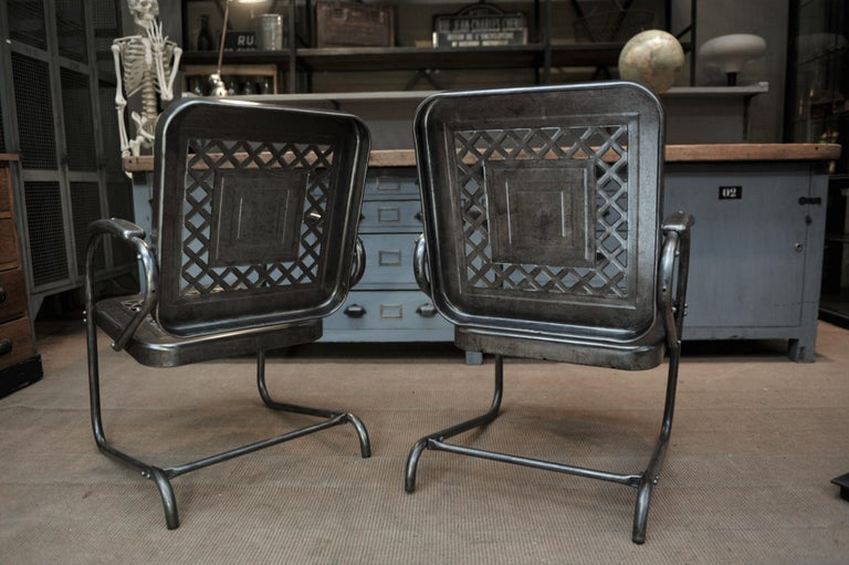 Paire of Perforated Metal Garden Armchairs, 1950s In Good Condition For Sale In Roubaix, FR