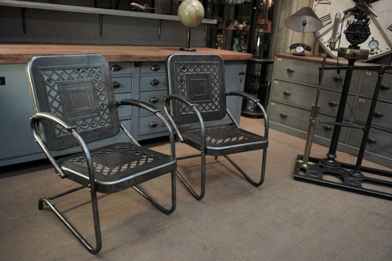 Iron Paire of Perforated Metal Garden Armchairs, 1950s For Sale