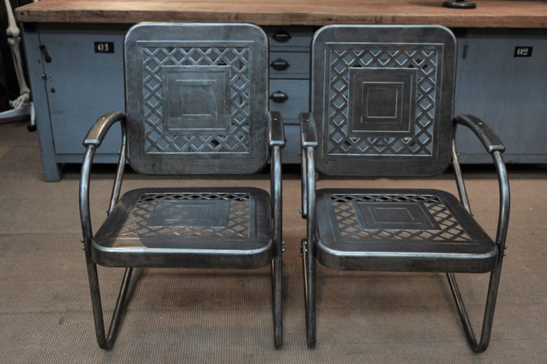 Paire of Perforated Metal Garden Armchairs, 1950s For Sale 2