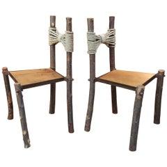 "Paire of Primitive ""Tree"" Chairs Wood and Rope, 1950s"