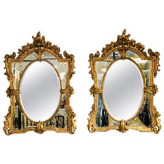 Pair of Monumental Venetian Gilt Carved Framed Etched Glass Wall/Console Mirrors