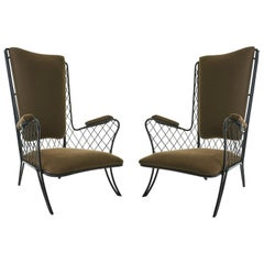 Pair of 1950s Iron High Back Armchairs Attributed to Jean Royère