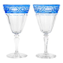 Pairpoint 12 Blue Cut to Clear Clear Crystal Water Goblets
