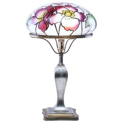 Pairpoint Glass Co. Poppy Flower Stained Glass Table Lamp, Vienna Shade, 1920