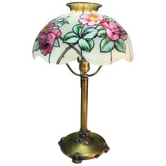 Pairpoint Glass Company Rose Floral Stained Glass Table Lamp, Vienna Shade, 1920