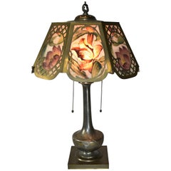 Pairpoint Reverse Painted Floral Table Lamp USA Signed