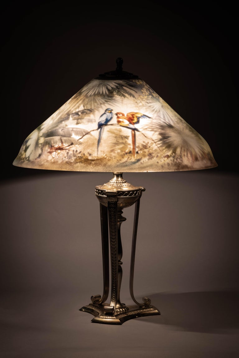 American Pairpoint Silver Plated and Reverse Painted Glass Parrot Lamp, 20th Century For Sale