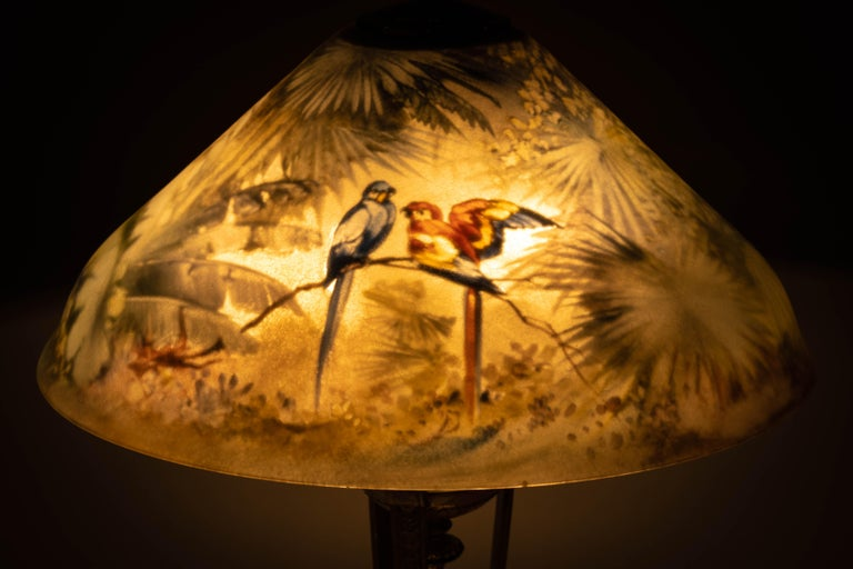 Pairpoint Silver Plated and Reverse Painted Glass Parrot Lamp, 20th Century For Sale 2