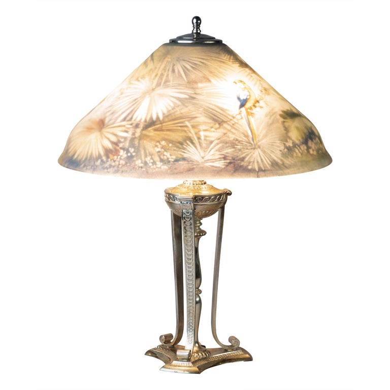 Pairpoint Silver Plated and Reverse Painted Glass Parrot Lamp, 20th Century For Sale