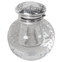 Crystal Inkwell by Pairpoint Glass with Sterling Top-Controlled Bubble Pattern