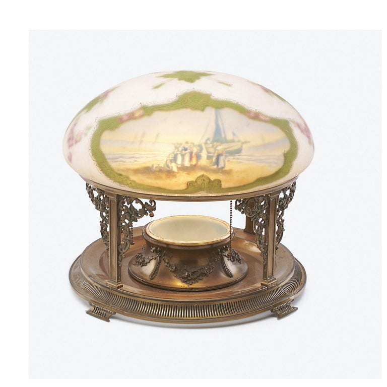 Art Deco Pairpoint table lamp New England Seascape Vienna Shade, Planter Base Lamp, 1910 For Sale