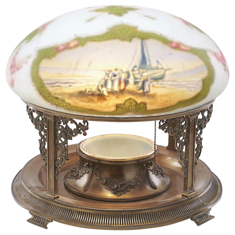 Pairpoint table lamp New England Seascape Vienna Shade, Planter Base Lamp, 1910 For Sale