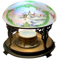Pairpoint Table Lamp New England Seascape Vienna Shade, Planter Base Lamp, 1910