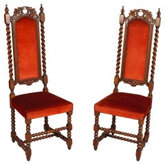 Pairs 19th Century Venetian Hall Chairs by Atelier Cadorin, Walnut Hand Carved