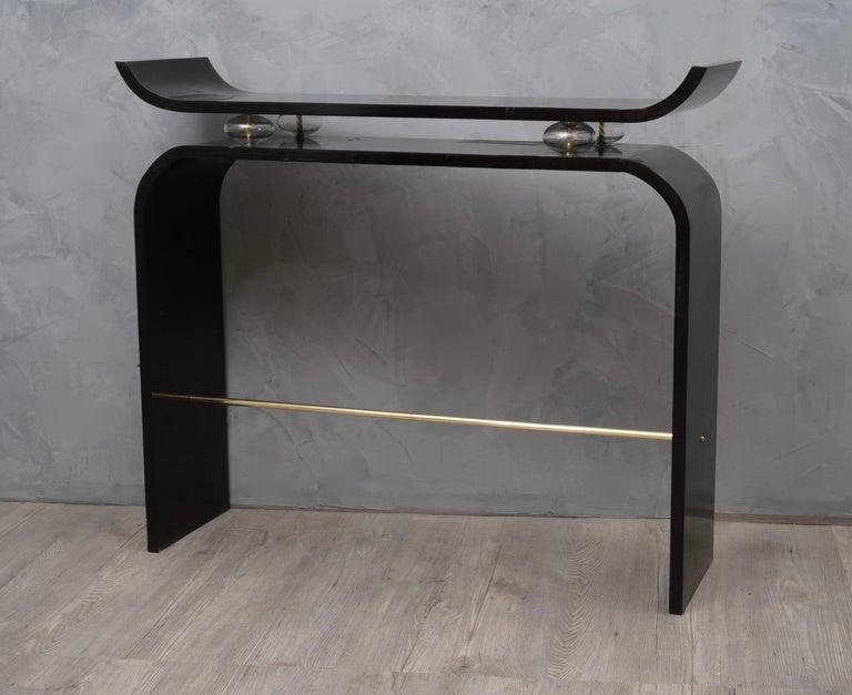 Early 20th Century Art Deco Glass and Brass Console Tables, 1920 For Sale