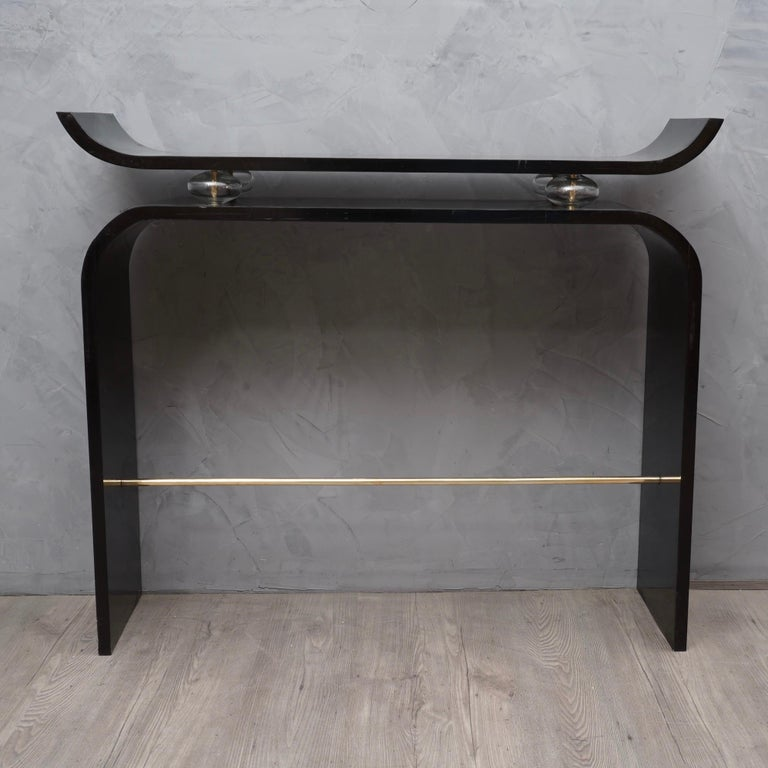 Blown Glass Art Deco Glass and Brass Console Tables, 1920 For Sale