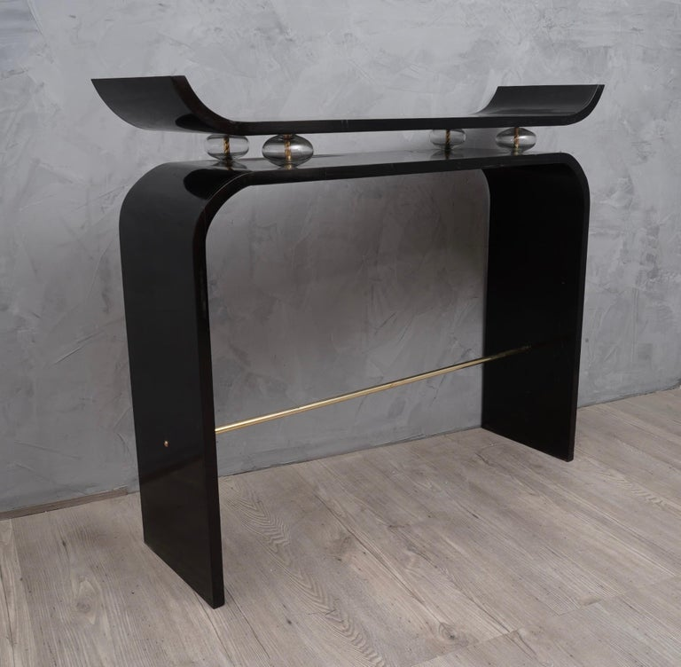Art Deco Glass and Brass Console Tables, 1920 For Sale 1