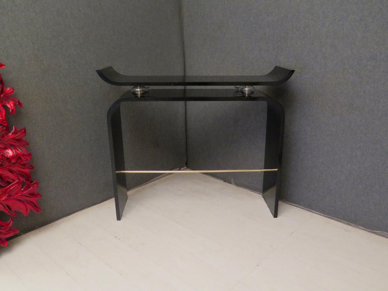 Pairs of Art Deco Black Lacquered Wood Glass and Brass Console Tables, 1920 For Sale 11