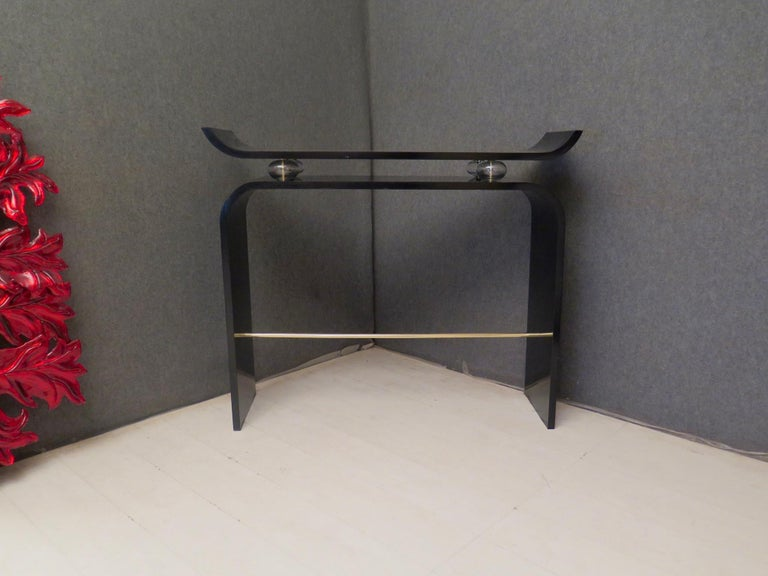 Pairs of Art Deco Black Lacquered Wood Glass and Brass Console Tables, 1920 For Sale 13