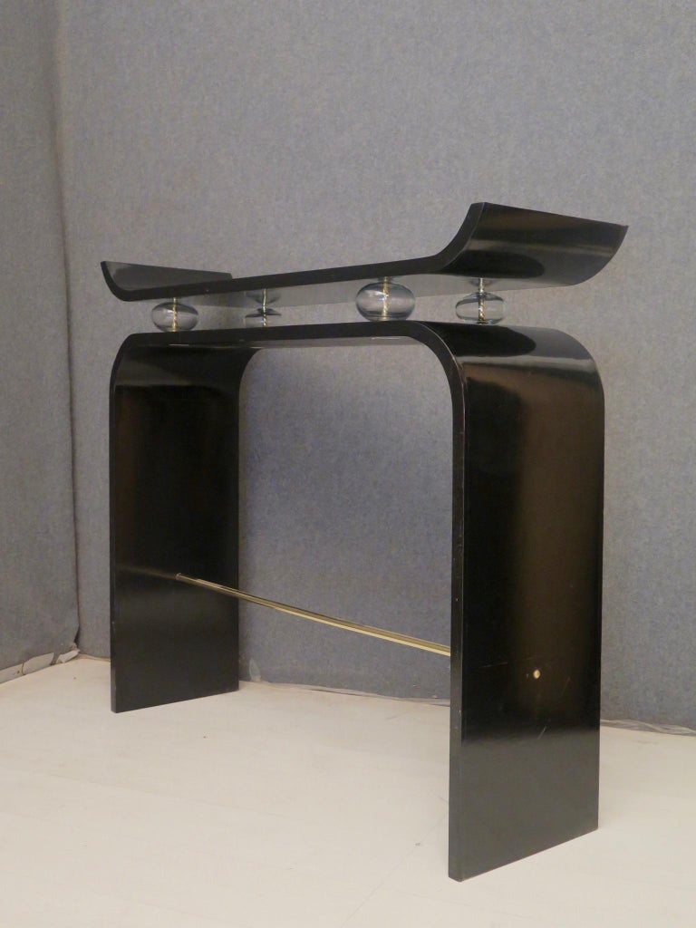 Italian Pairs of Art Deco Black Lacquered Wood Glass and Brass Console Tables, 1920 For Sale