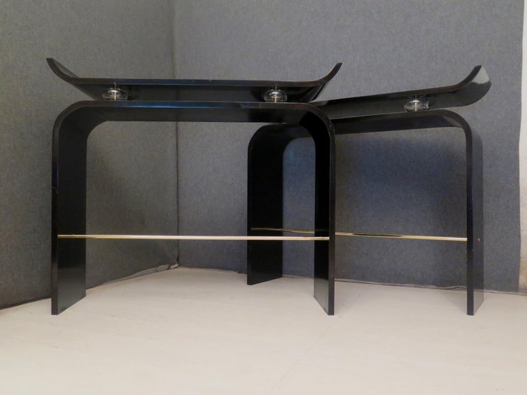Pairs of Art Deco Black Lacquered Wood Glass and Brass Console Tables, 1920 In Excellent Condition For Sale In Rome, IT