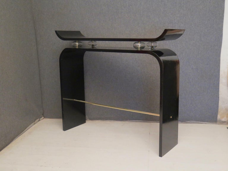 Pairs of Art Deco Black Lacquered Wood Glass and Brass Console Tables, 1920 For Sale 1
