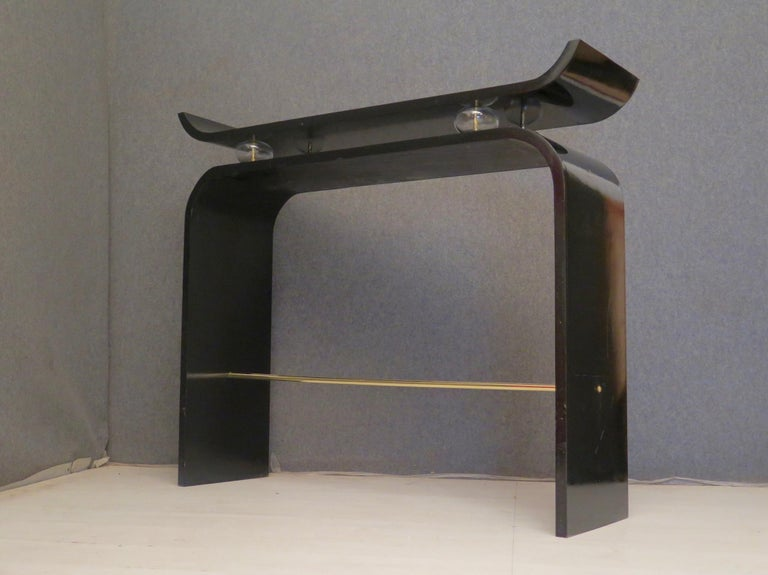 Pairs of Art Deco Black Lacquered Wood Glass and Brass Console Tables, 1920 For Sale 2