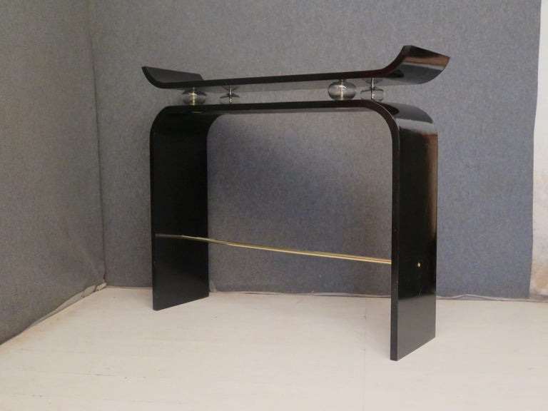 Pairs of Art Deco Black Lacquered Wood Glass and Brass Console Tables, 1920 For Sale 4