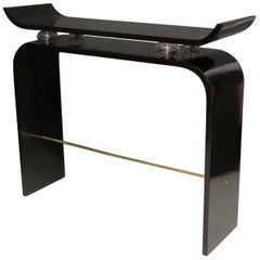Pairs of Art Deco Black Lacquered Wood Glass and Brass Console Tables, 1920
