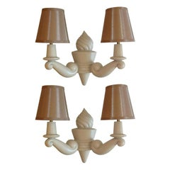 Pairs of French Plaster Sconses signed Arlus. , 2 pairs available