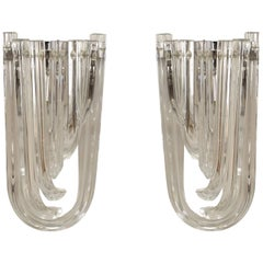 Pairs of Italian Contemporary Design Clear Glass Wall Sconces