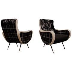 Pairs of Black and White Fabric Italian Armchairs, 1950